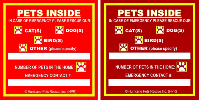 HPR Pet Safety Alert Window Sticker