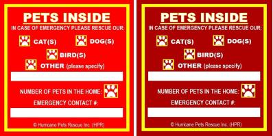 HPR Pet Safety Alert Window Sticker